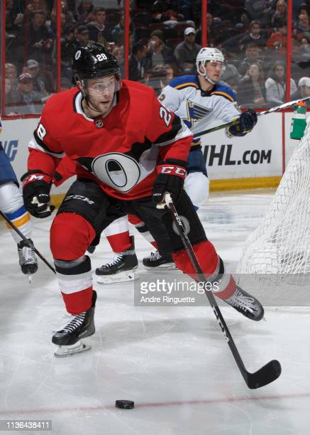 Cody Goloubef of the Ottawa Senators skates against the St Louis Blues at Canadian Tire Centre on March 14 2019 in Ottawa Ontario Canada