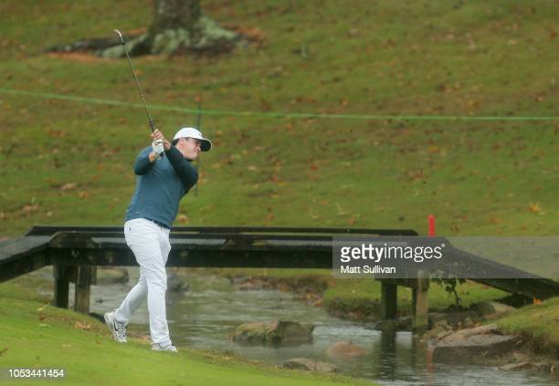 Cody Gribble hits second shot on the eighth hole during the first round of the Sanderson Farms Championship at the Country Club of Jackson on October...