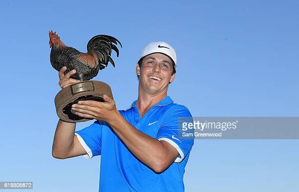 Cody Gribble poses with the trophy after winning the Final Round of the Sanderson Farms Championship at the Country Club of Jackson on October 30...