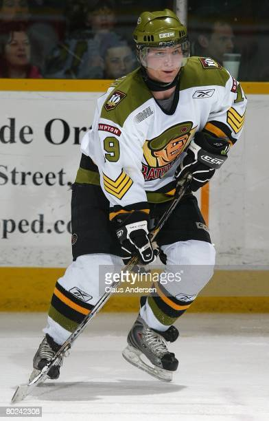 Cody Hodgson of the Brampton Battalion skates in a game against the Peterborough Petes on March 12 2008 at the Peterborough Memorial Centre in...