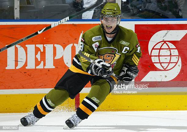 Cody Hodgson of the Brampton Battalion skates in a game against the London Knights on December 5, 2008 at the John Labatt Centre in London, Ontario....