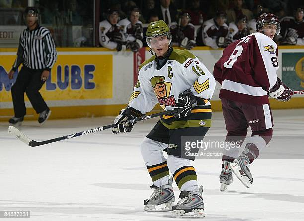 Cody Hodgson of the Brampton Battalion skates in a game against the Peterborough Petes on January 31 2009 at the Memorial Centre in Peterborough...