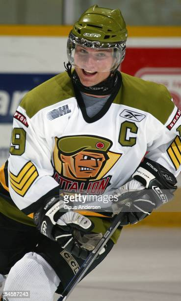 Cody Hodgson of the Brampton Battalion skates in the warmup prior to a game against the Peterborough Petes on January 31 2009 at the Memorial Centre...