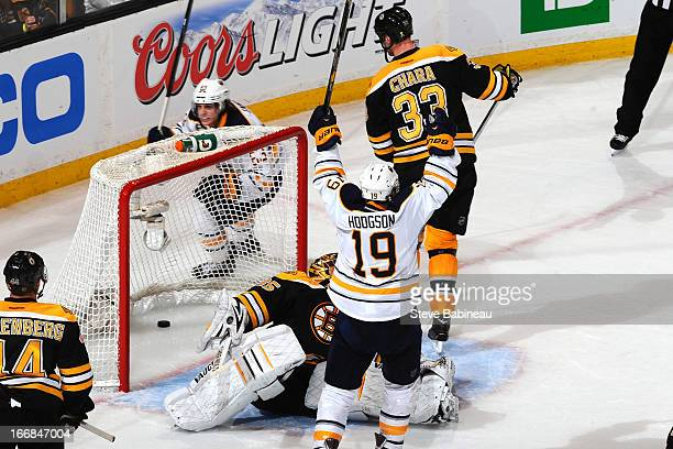 Cody Hodgson of the Buffalo Sabres celebrates a goal to tie the game against the Boston Bruins at the TD Garden on April 17 2013 in Boston...