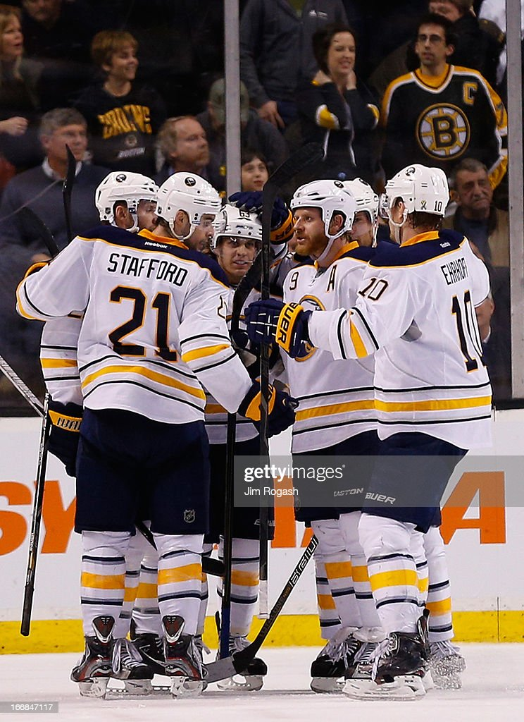 Cody Hodgson #19 of the Buffalo Sabres celebrates his game-tying goal with teammates in the third period against the Boston Bruins at TD Garden on April 17, 2013 in Boston, Massachusetts.