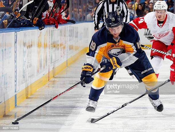 Cody Hodgson of the Buffalo Sabres controls the puck against the Detroit Red Wings at First Niagara Center on November 24 2013 in Buffalo New York
