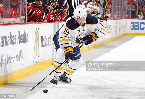 Cody Hodgson of the Buffalo Sabres in action against the New Jersey Devils at the Prudential Center on February 17 2015 in Newark New Jersey The...