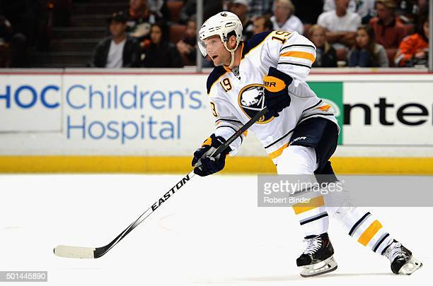 Cody Hodgson of the Buffalo Sabres plays in the game against the Anaheim Ducks at Honda Center on October 22 2014 in Anaheim California