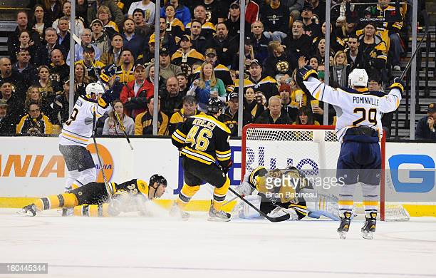 Cody Hodgson of the Buffalo Sabres scores a goal against the Boston Bruins at the TD Garden on January 31 2013 in Boston Massachusetts