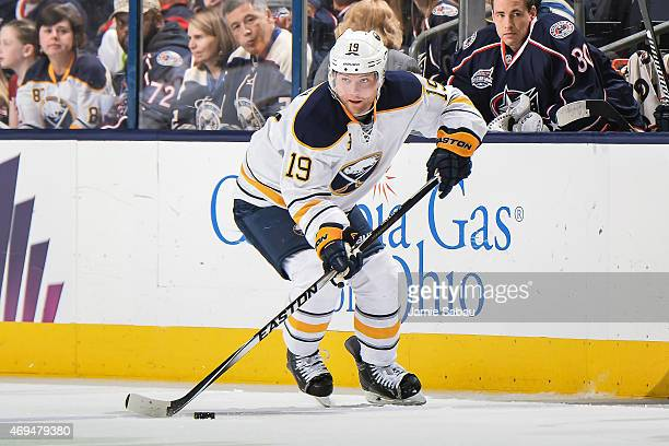 Cody Hodgson of the Buffalo Sabres skates against the Columbus Blue Jackets on April 10 2015 at Nationwide Arena in Columbus Ohio