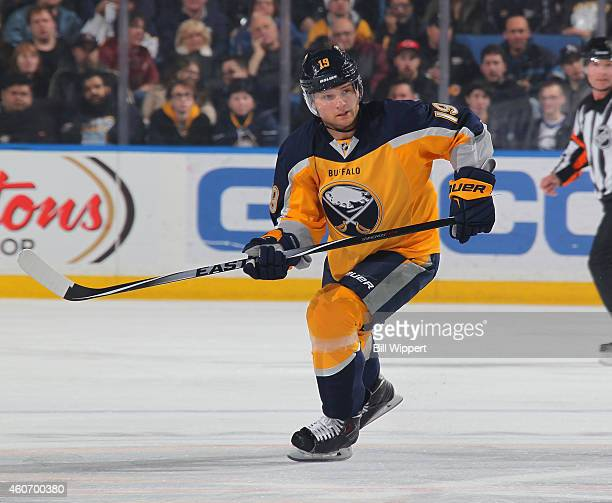 Cody Hodgson of the Buffalo Sabres skates against the Florida Panthers on December 13 2014 at the First Niagara Center in Buffalo New York