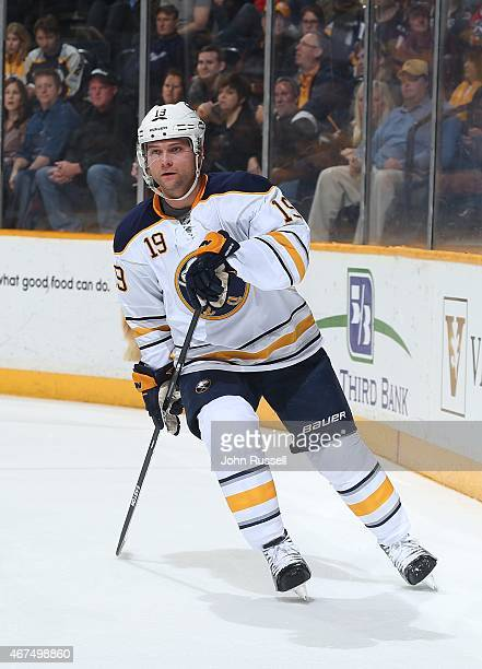Cody Hodgson of the Buffalo Sabres skates against the Nashville Predators during an NHL game at Bridgestone Arena on March 21 2015 in Nashville...