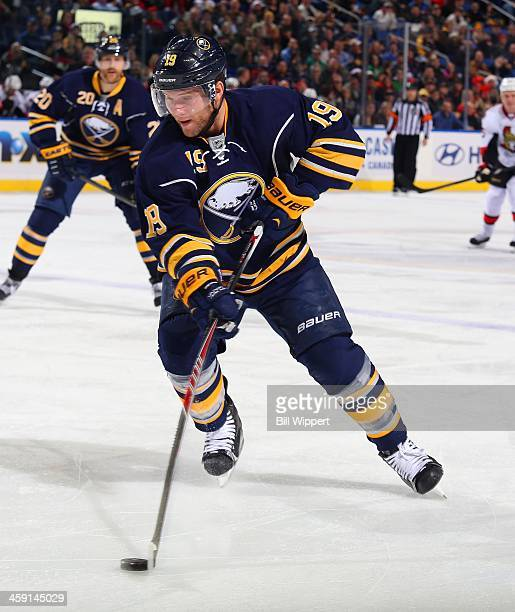 Cody Hodgson of the Buffalo Sabres skates against the Ottawa Senators on December 10 2013 at the First Niagara Center in Buffalo New York