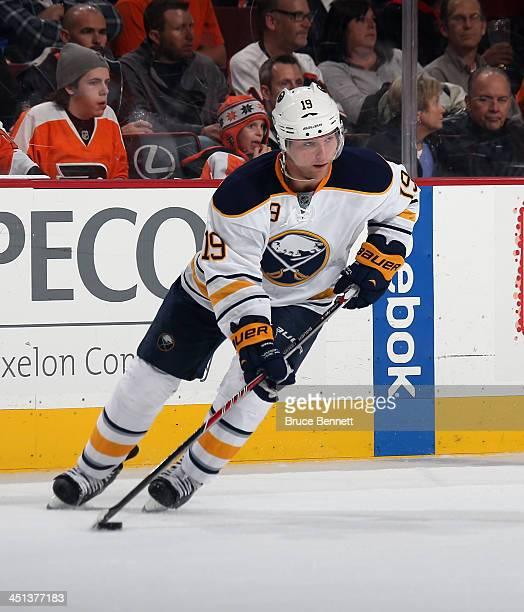 Cody Hodgson of the Buffalo Sabres skates against the Philadelphia Flyers at the Wells Fargo Center on November 21 2013 in Philadelphia Pennsylvania...
