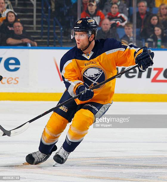 Cody Hodgson of the Buffalo Sabres skates against the Philadelphia Flyers on January 14 2014 at the First Niagara Center in Buffalo New York