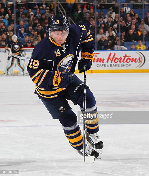 Cody Hodgson of the Buffalo Sabres skates against the Tampa Bay Lightning on December 31 2014 at the First Niagara Center in Buffalo New York