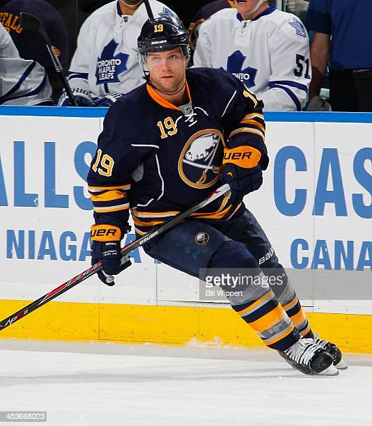 Cody Hodgson of the Buffalo Sabres skates against the Toronto Maple Leafs on November 29 2013 at the First Niagara Center in Buffalo New York