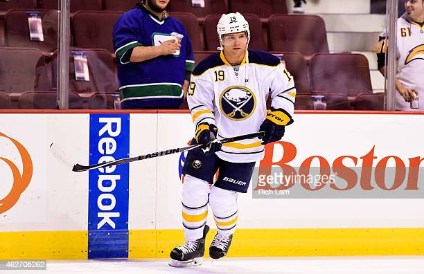 Cody Hodgson of the Buffalo Sabres skates in the pregame skate prior to NHL action against the Vancouver Canucks in Vancouver BC on January 2015 at...