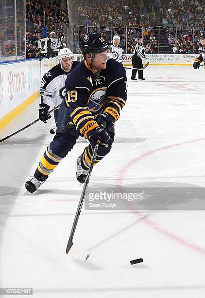 Cody Hodgson of the Buffalo Sabres skates with the puck against the Winnipeg Jets at First Niagara Center on April 22 2013 in Buffalo New York