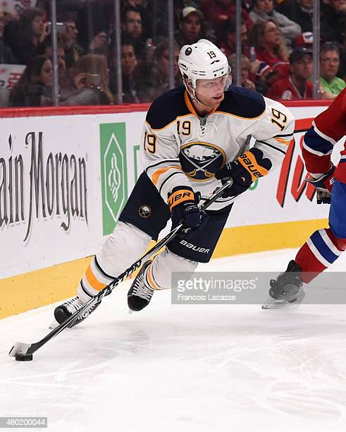 Cody Hodgson of the Buffalo Sabres skates with the puck against the Montreal Canadiens in the NHL game at the Bell Centre on November 29 2014 in...
