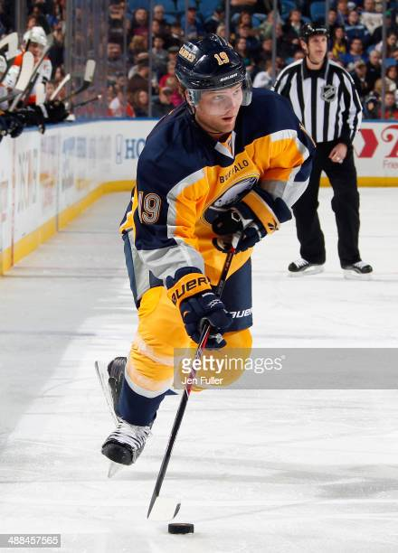 Cody Hodgson of the Buffalo Sabres skates with the puck against the Philadelphia Flyers on January 14 2014 at the First Niagara Center in Buffalo New...