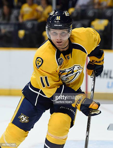 Cody Hodgson of the Nashville Predators against the Carolina Hurricanes at Bridgestone Arena on October 8 2015 in Nashville Tennessee