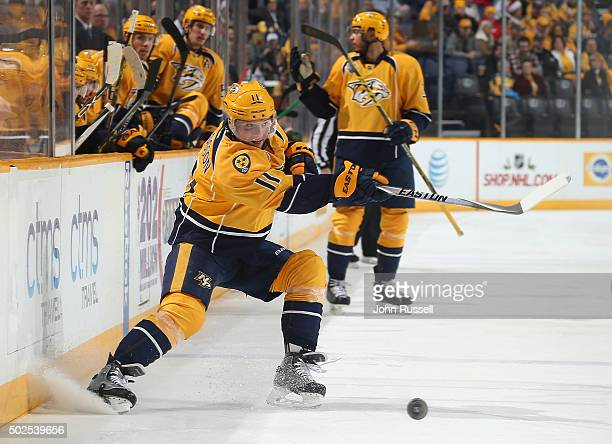 Cody Hodgson of the Nashville Predators skates against the Minnesota Wild during an NHL game at Bridgestone Arena on December 19 2015 in Nashville...