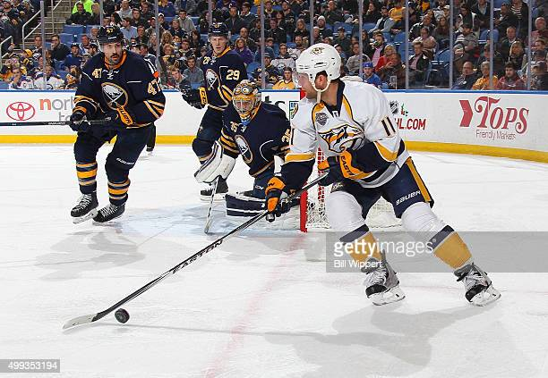 Cody Hodgson of the Nashville Predators skates against Zach Bogosian of the Buffalo Sabres in an NHL game on November 25 2015 at the First Niagara...