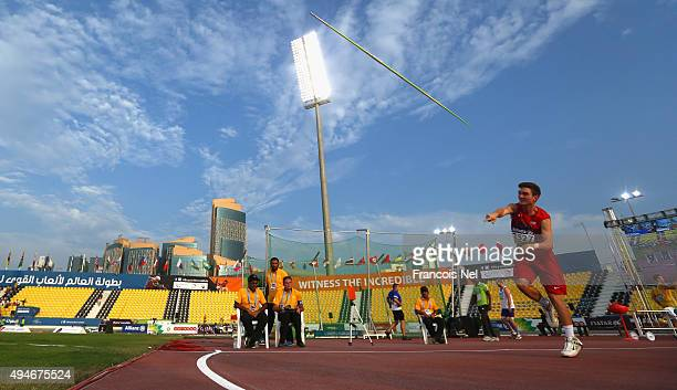 Cody Jones of the United States competes in the men's javelin F38 final during the Evening Session on Day Seven of the IPC Athletics World...