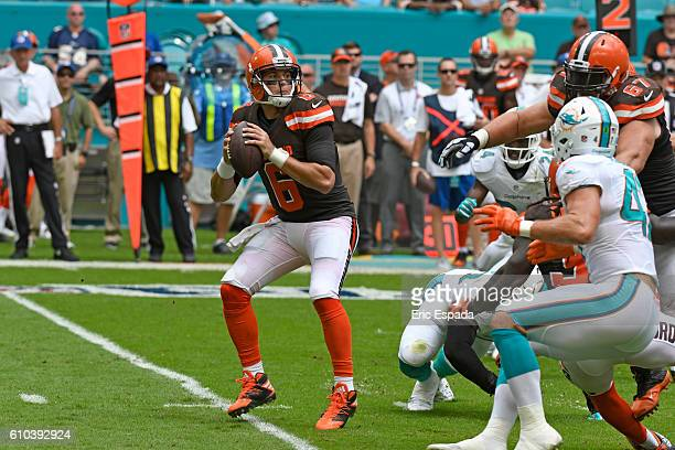Cody Kessler of the Cleveland Browns throws a pass during the 1st quarter against the Miami Dolphins on September 25 2016 in Miami Gardens Florida