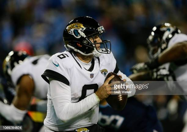 Cody Kessler of the Jacksonville Jaguars prepares to throw a pass against the Tennessee Titans during the fourth quarter at Nissan Stadium on...