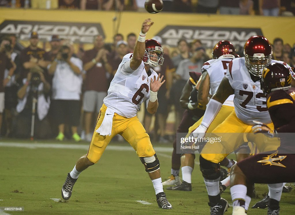 Cody Kessler #6 of the Southern California Trojans throws a first half pass against the Arizona State University Sun Devils at Sun Devil Stadium on September 26, 2015 in Tempe, Arizona.