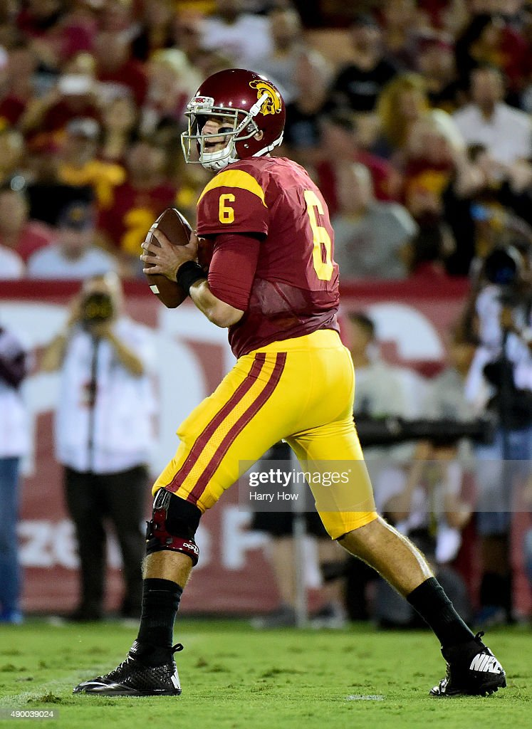 Cody Kessler #6 of the USC Trojans prepares to throw against the Arkansas State Red Wolves at Los Angeles Coliseum on September 5, 2015 in Los Angeles, California.