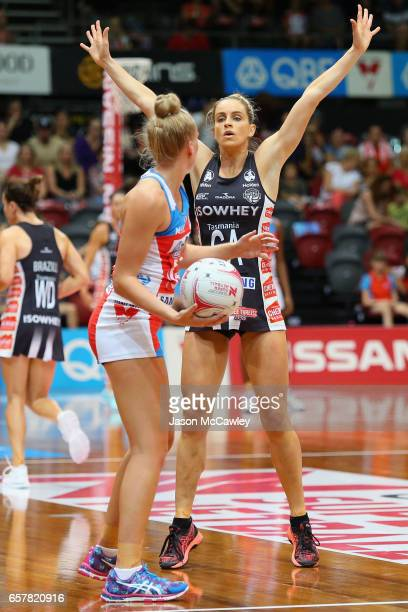 Cody Lange of the Magpies defends during the round six Super Netball match between the Swifts and the Magpies at Sydney Olympic Park Sports Centre on...