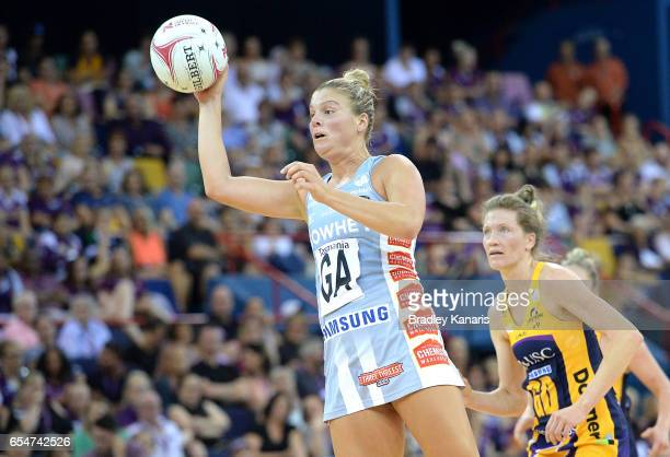 Cody Lange of the Magpies passes the ball during the round five Super Netball match between the Lightning and the Magpies at Brisbane Entertainment...
