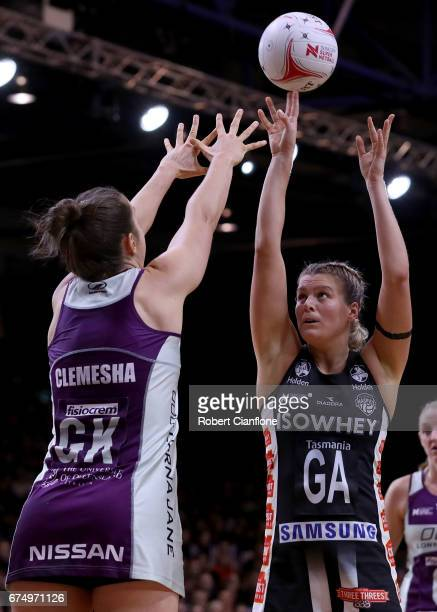 Cody Lange of the Magpies shoots during the round 10 Super Netball match between the Magpies and the Firebirds at the Silverdome on April 30 2017 in...
