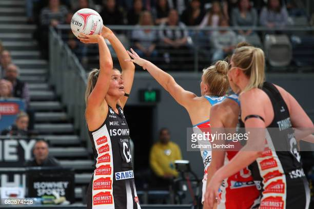 Cody Lange of the Magpies shoots during the round 12 Super Netball match between the Magpies and the Swifts at Hisense Arena on May 13 2017 in...