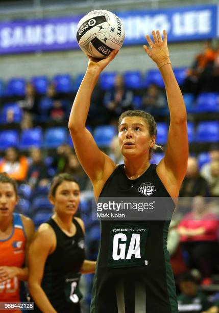 Cody Lange of the Magpies shoots for goal during the Australian Netball League grand final between the Tasmanian Magpies and the Canberra Giants at...