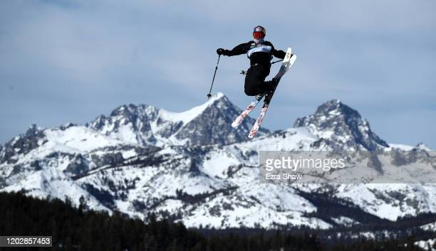 Cody Laplante of the United States goes over a jump during the Men's Freeski Slopestyle Qualifications at the 2020 U.S. Grand Prix at Mammoth...