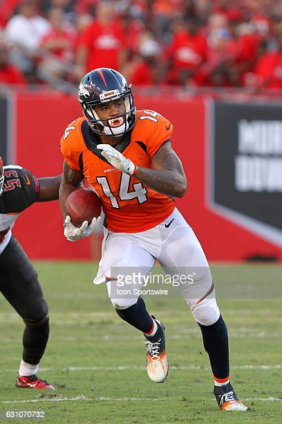 Cody Latimer of the Broncos carries the ball during the NFL game between the Denver Broncos and Tampa Bay Buccaneers on October 02 at Raymond James...