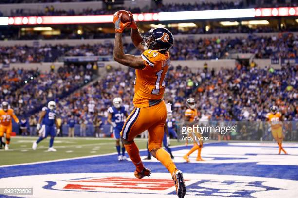 Cody Latimer of the Denver Broncos catches a pass on a twopoint conversion against the Indianapolis Colts during the second half at Lucas Oil Stadium...