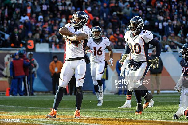 Cody Latimer of the Denver Broncos reacts after scoring against the Chicago Bears in the fourth quarter at Soldier Field on November 22 2015 in...