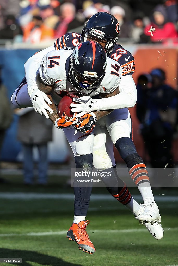 Cody Latimer #14 of the Denver Broncos scores a touchdown against Kyle Fuller #23 of the Chicago Bears in the fourth quarter at Soldier Field on November 22, 2015 in Chicago, Illinois.