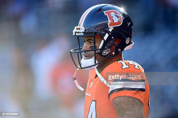 Cody Latimer of the Denver Broncos warms up before the game against the San Diego Chargers at Qualcomm Stadium on October 13 2016 in San Diego...
