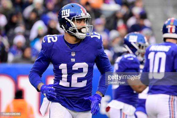 Cody Latimer of the New York Giants in action against the Dallas Cowboys at MetLife Stadium on December 30 2018 in East Rutherford New Jersey