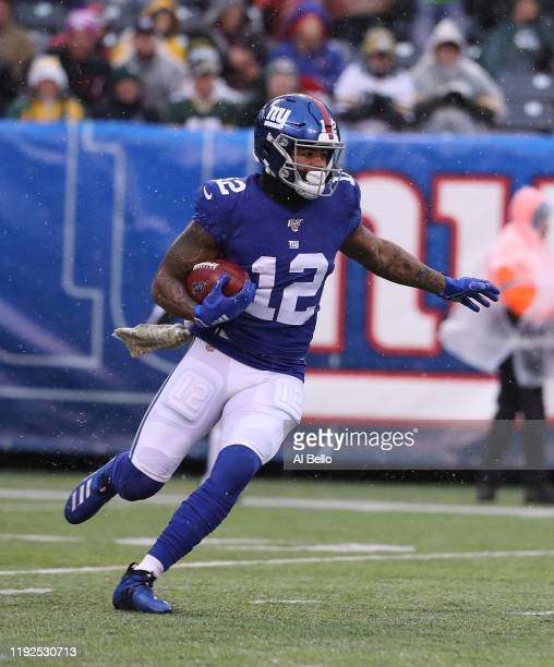 Cody Latimer of the New York Giants in action against the Green Bay Packers during their game at MetLife Stadium on December 01 2019 in East...