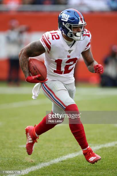 Cody Latimer of the New York Giants in action during the game against the Chicago Bears at Soldier Field on November 24 2019 in Chicago Illinois The...