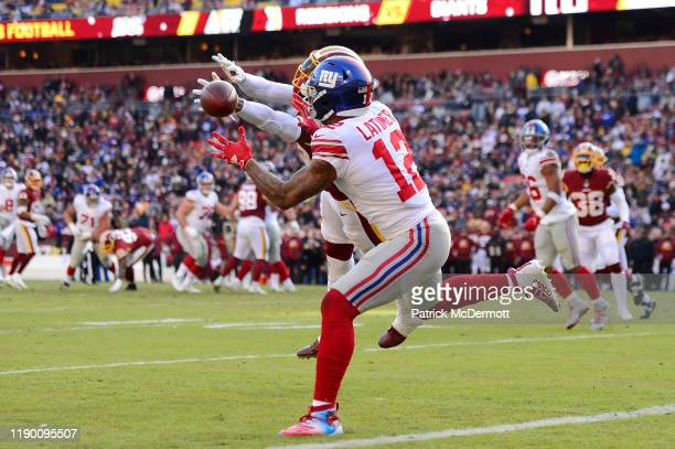 Cody Latimer of the New York Giants is unable to catch a pass as Montae Nicholson of the Washington Redskins defends in the first half at FedExField...