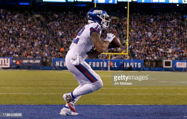 Cody Latimer of the New York Giants touchdown against the Dallas Cowboys at MetLife Stadium on November 04 2019 in East Rutherford New Jersey The...