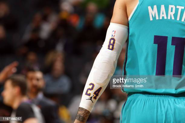 Cody Martin of the Charlotte Hornets honors Kobe Bryant during the game against the New York Knicks on January 28 2020 at Spectrum Center in...